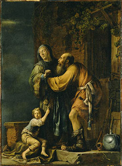 Abraham pleads to Sarah for Hagar, by Willem Bartius.