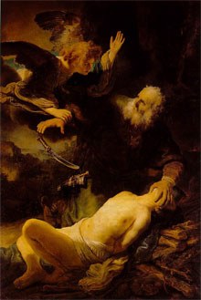 Abraham sacrificing Isaac, by Rembrandt.
