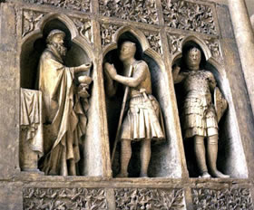Abraham and Melchizedek, Reims Cathedral, c. 1250.
