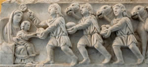 Adoration of the Magi. Panel from a Roman sarcophagus, 4th century CE. From the cemetery of St. Agnes in Rome.