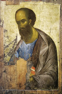 Apostle Paul by Andrei Rublev, 1410–1420.