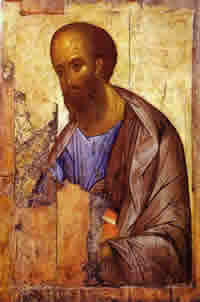 The apostle Paul by Andrei Rublev, c. 1420.