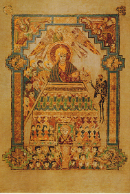 Temptation of Christ, Book of Kells illuminated MSS, c. 800.
