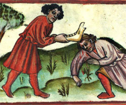Cain murders Abel, 15th century