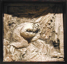 The call of Abraham, ceramic relief by Richard McBee, 1980.