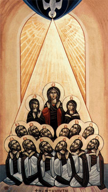 Modern Coptic icon of Pentecost