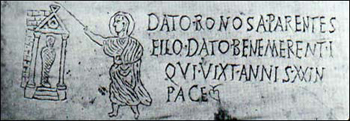 Gravestone of a Christian named Datus, 3rd century catacomb, with Jesus raising Lazarus.