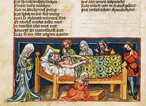 The Death of Noah, German, Regensburg, c. 1400–1410, Tempera colors on parchment.
