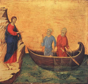 Calling of Peter and Andrew, Duccio di Buoninsegna, 1308-11.