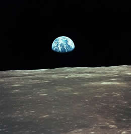 Earthrise over the moon.