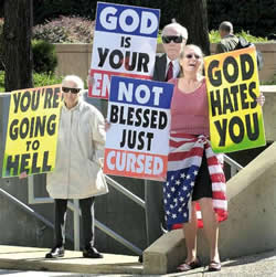 Fred Phelps with protesters.
