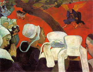 Jacob Wrestles the Angel, by Paul Gauguin, 1888.