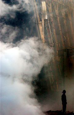 A solitary firefighter at Ground Zero on  9/11.
