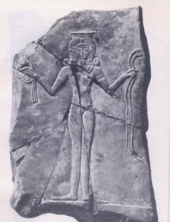 Egyptian Goddess Hathor (Canaanite Ashtoreth), stone plaque, c. 1250 BCE, British Museum.
