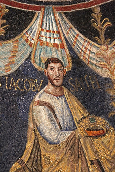James, 5th-century mosic, Ravenna baptistry.