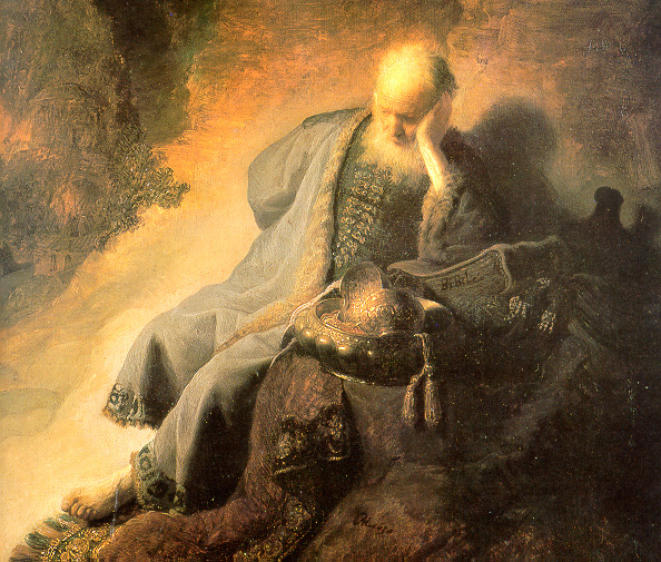 Jeremiah lamenting the destruction of Jerusalem, by Rembrandt.