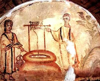 Jesus and the woman at the well, 4th century Roman catacomb.