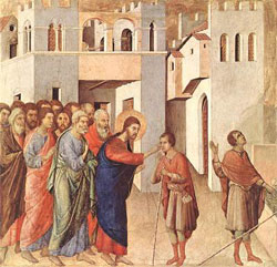 Healing of the blind man by Duccio di Buoninsegna (1308-1311), tempera on wood.