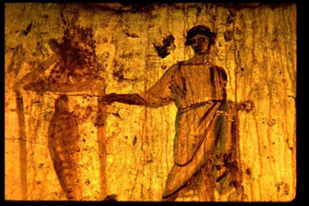 Wall painting of Jesus raising Lazarus, late 3rd century catacomb.