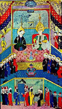 Joseph with his father Jacob and brothers in Egypt from the 16th century illuminated mss. Zubdat-al Tawarikh in the Turkish and Islamic Arts Museum in Istanbul, dedicated to Sultan Murad III in 1583.
