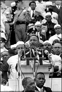 "Click image to read King's ""I Have a Dream"" speech."