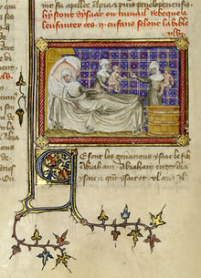 The birth of Esau and Jacob, Master of Jean de Mandeville, French, Paris, about 1360-1370.