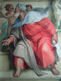 Ezekiel the Prophet, by Michaelangelo, the Sistine Chapel.