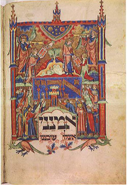 Moses receives the 10 commandments, Jewish prayer book, Germany, c. 1290.