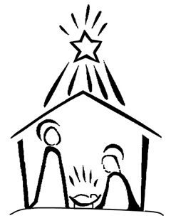 Nativity line drawing.