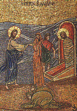Icon of raising Lazarus from the dead