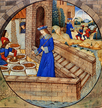 Joseph's servants fill his brothers' sacks with wheat, late 15th century illuminated mss. by Raphael de Mercatelli.