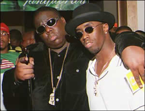 Rappers Biggie Smalls and Puff Daddy.
