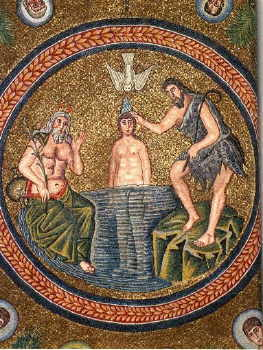 Mosaic, baptistry in Ravenna, c. 500's.