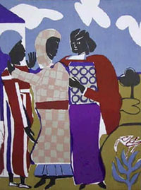 Three Women (Easter Sunday) by Romare Bearden (1912-1988).