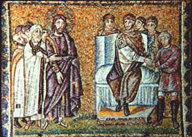 Mosaic of Christ before Pilate, Basilica of Saint Apollinare Nuovo, 6th century.