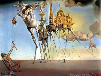 Salvador Dali, The Temptation of Saint Anthony (1946), the father of Christian monasticism.