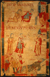 Four Scenes from the First Book of Samuel, late 11th century, miniature on vellum.