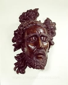Wood Sculpture of John The Baptist's Head by Santiago Martinez Delgado, 1942.