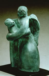 Jacob Wrestles With an Angel, Terracotta with bronze patina, by Scott Sullivan.