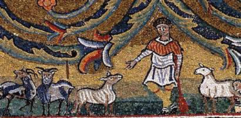 Christ separates the sheep from the goats, 6th-century mosaic from Ravenna, the Church of Appolinare Nuovo.