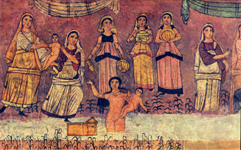 Shiphrah, Puah, Jocheved, Miriam, Pharoah's Daughter, and the infant Moses, Dura Europas Synagogue, c. 250.