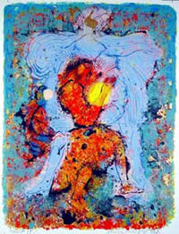 Jacob and the Angel, Serigraph, 1965, by Shraga Weil.