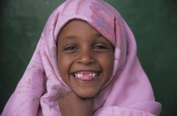 Somali girl laughing.
