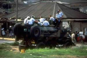South African police at Alexandra Township in 1985.