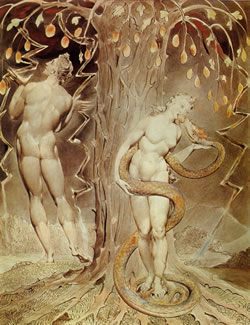 "William Blake, ""Temptation of Eve"" (1808)."