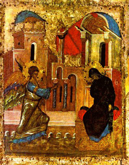 The Annunciation, Russian Icon — 4th century.
