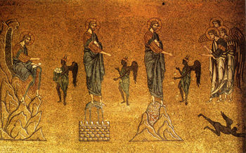 The Temptations of Christ, 12th century mosaic at St Mark's Basilica, Venice.