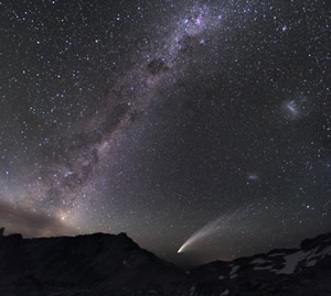 Three galaxies and a comet (seen from Patagonia).