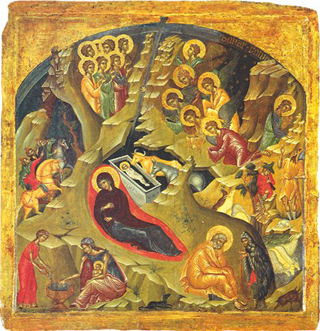 Traditional Orthodox Icon of the Nativity.