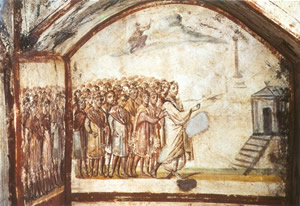 Image of the raising of Lazarus from a Roman catacomb.